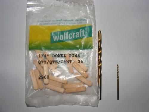 Wolfcraft Dowel Pins and Drill Bits Needed